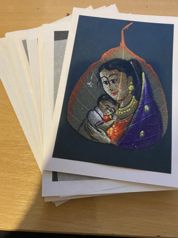 Christmas Cards - Hand painted leaves - all proceeds to Premananda Orphanage in India