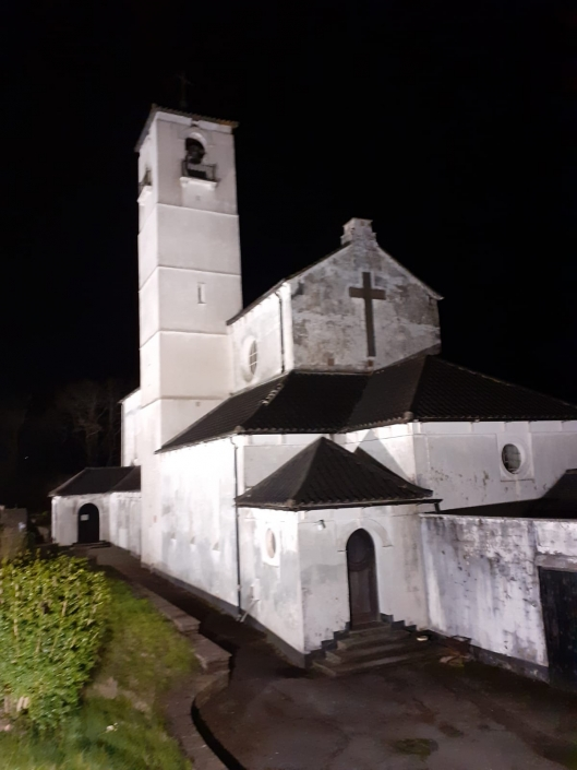 Church of Our Lady of  Peace, Newbridge lit up at night time